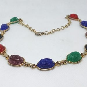 Egyptian Scarab Necklace Multi Color